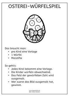 Osterei-Würfelspiel - Erster Österreichischer Dachverband Legasthenie - Imágenes efectivas que le proporcionamos sobre homemade hand sanitizer Una imagen de alta calidad - Diy And Crafts, Crafts For Kids, Printable Letters, Dice Games, Fine Motor Skills, Kids And Parenting, Happy Easter, Easter Eggs, Preschool