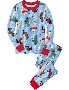Long John Pajamas In Organic Cotton from #HannaAndersson. size 90, Reindeer games dogs print $42.