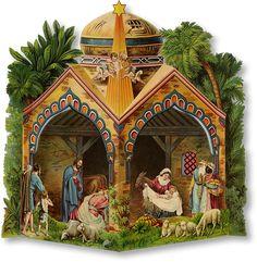 Glanzbilder - Nativity Scene - Scène de la Nativité  Victorian Die Cut - Victorian Scrap - Tube Victorienne - Glansbilleder - Plaatjes : Kripppenbilder -