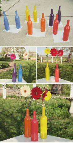 spray painted wine bottle vases