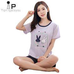 Buy Home clothes women two piece 2018 Summer cotton nightwear Women pajama  set Plus size pyjamas female sleepwear night suit pijama 914493219