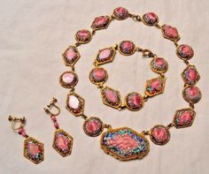 Antique Art Deco Czech Pink Blue Green Art Glass Necklace Bracelet & Earrings | Jewelry & Watches, Vintage & Antique Jewelry, Costume | eBay!