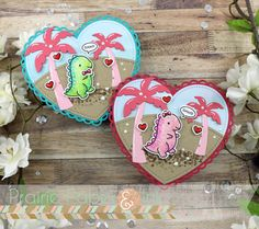 Prairie Paper & Ink: Lawn Fawn Rawr Heart Shaped Cards   AmyR Valentine 2018 Series #13