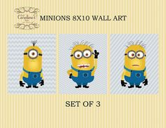 Set of 3 Minions/ Despicable Me Inspired by SweetCarolinesStudio, $18.00 Boy Toddler Bedroom, Boy Room, Toddler Boys, Kids Room, Minion Bedroom, Minions Despicable Me, Wall Art Sets, Party Themes, Inspired