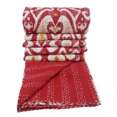 """Red Queen Size Cotton Kantha Quilt Traditional Paisley Pattern Indian Gudri 102"""" X 94"""" Inches by ibaexports,  upstairs bedroom"""