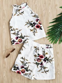 Floral Print Random Self Tie Split Back Top With Shorts