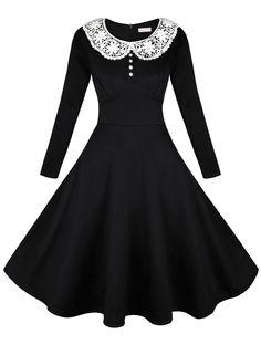 EA Selection-Vestido de Encaje con Manga Larga de Mujer para Bodas Swing Dress: Amazon.es: Ropa y accesorios