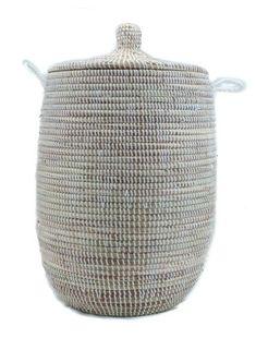 Rieten mand met deksel 65cm wit Teranga