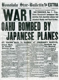 WORLD WAR II: PEARL HARBOR. The front page of the Honolulu-Star Bulletin, 7 December announcing the Japanese attack on Pearl Harbor. I especially like this because I'm reading Unbroken right now. Vintage Newspaper, Newspaper Headlines, Newspaper Article, Newspaper Names, Newspaper Design, World History Classroom, Pearl Harbor Attack, Pearl Harbor Ww2, Journaling