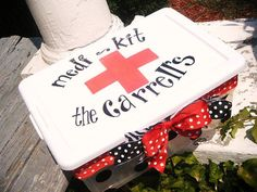 custom family FIRST AID kit Handpainted and by dillydAllie on Etsy, $29.95--Great Gift!!
