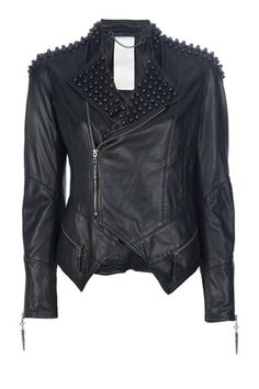 Punk-inspired studded leather jacket