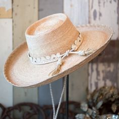 """MM Sombra 5"""" Brim Palm Leaf Hat with White Leather Hatband and Stampede String Don't see your size? Want a different hatband color? Call the store and we can have one custom made for you! (830) 796-7803"""