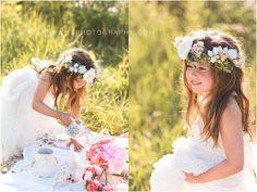 floral headpieces, styled photo shoot, tea party idea,