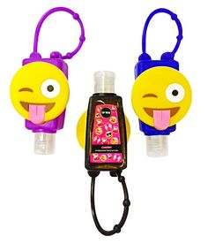 A fun emoji holder for your mini hand sanitizer! Adjustable length strap attaches easily to a backpack, purse or lunchbox! Soft silicon material. Includes one bottle of cherry scented hand sanitizer.