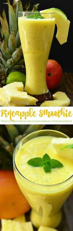 Pineapple Tropical Smoothie - A nice, cold smoothie fame with fresh pineapple, mango, mint and lime.