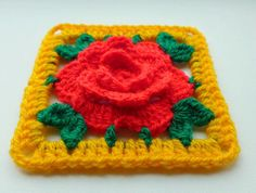 Instant Download Crochet PDF pattern  Chinese Rose in square