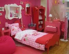 Amazing Bedroom , Cute Hello Kitty Bedrooms : Hello Kitty Bedrooms With Pouf And  Bedding And Open Display Cabinet And Toys