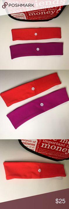 🆕 NWT Lululemon Athletica flyaway tamer headbands NWT Lululemon Athletica fly away tamer headbands in violet purple and jeweled magenta lululemon athletica Accessories Hair Accessories