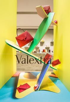 """THE VALEXTRA BOUTIQUE, Milan, Italy, """"3D collage-compositions comprised of intense colors to compliment the latest leather handbag collection"""", creative by Lorenzo Vitturi, pinned by Ton van der Veer"""