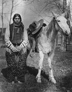 Yakama man named Twitmix and horse, Washington, 1908.
