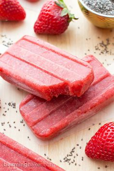 Vegan Strawberry Chia Seed Popsicles (V+GF): a 3 ingredient recipe for delicious, refreshing strawberry popsicles bursting with chia seeds. #Vegan #DairyFree #GlutenFree | http://BeamingBaker.com