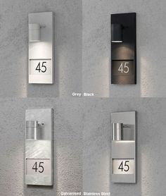 Exterior wall light for your house number available in 4 finishes, aluminium, black, grey or stainless steel. Illuminated House Numbers, Led House Numbers, House Number Plates, Door Numbers, Fasade Design, Number Plate Design, Stair Renovation, Exterior Wall Light, House Doors