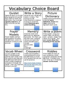 Vocabulary Choice Board by The Lilley Pad | Teachers Pay Teachers