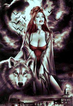 Gothic Fantasy Art, Fantasy Art Women, Beautiful Fantasy Art, Dark Fantasy, Wolf Images, Wolf Pictures, Weird Pictures, Wolves And Women, Vampire Art