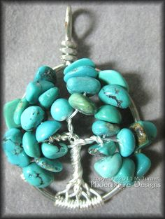 December Tree - Tree of Life Pendant in Natural Turquoise Gemstone and Sterling Silver Wire $45