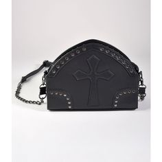 Banned Black Leatherette Studded Gothic Cross Shoulder Purse ($44) ❤ liked on Polyvore featuring bags, handbags, shoulder bags, multicolor, man bag, goth purse, studded purse, handbag purse and gothic handbags