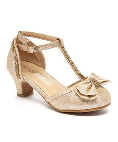 Another great find on #zulily! Champagne T-Strap Bow Dressy Shoe #zulilyfinds
