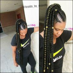 Feeder braids, stitch braids, feedin braids, feeder braid ponytail