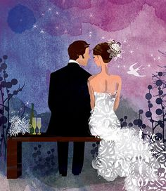 Just Married ~ by Annabelle Metayer Wedding Painting, Wedding Art, Wedding Album, Wedding Images, Wedding Engagement, Dream Wedding, Wedding Illustration, Family Illustration, Cute Lockscreens