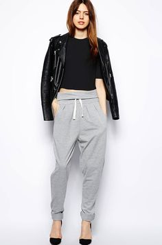 LE FASHION BLOG COOL SLOUCHY GREY MARL SWEATPANTS WITH HEELS LEATHER MOTO JACKET CROP TOP UNDER 50 DOLLARS OVERFOLD WAIST DRAWSTRING CASUAL ...