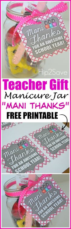 Teacher Appreciation Gift Idea: Mani Thanks Manicure Jar with Free Printable Gift Tag - Good teachers are hard to find. Show them your appreciation by giving them this wonderful teacher appreciation gift that. Teacher Treats, Teacher Gifts, Parent Gifts, Craft Gifts, Diy Gifts, Presents For Teachers, Coach Presents, Volunteer Gifts, Free Printable Gift Tags