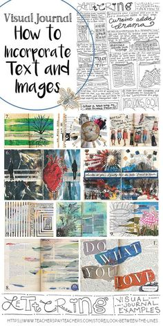 Balancing text and visual images is one of the hardest parts of visual journaling. This printable handout shows nine techniques you can use to successfully incorporate text plus visual journakl examples. High School Art, Middle School Art, Art Journal Pages, Art Journaling, Journal Guide, Journal Ideas, Junk Journal, Bujo, Zentangle