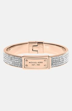 Michael Kors Pave Plaque Bangle, Golden from Michael Kors. Shop more products from Michael Kors on Wanelo. Jewelry Accessories, Fashion Accessories, Jewelry Box, Jewellery, Jewelry Watches, Pulseras Michael Kors, Bling Bling, Accesorios Casual, Sosua
