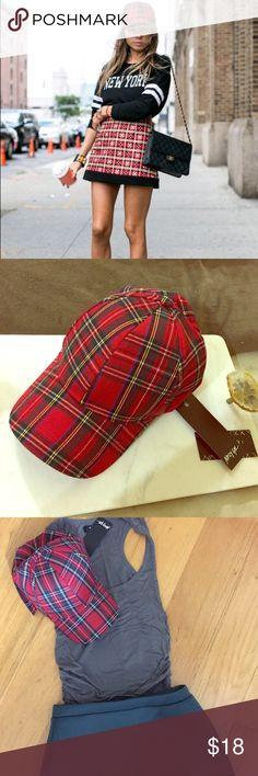 Nasty Gal tartan NWT Plaid One size baseball hat Nasty Gal tartan NWT Plaid One size baseball-features a dome crown, adjustable brim, and long strap at back.Adjustable back.**Drop a Line Tartan Baseball Cap** Nasty Gal Accessories Hats