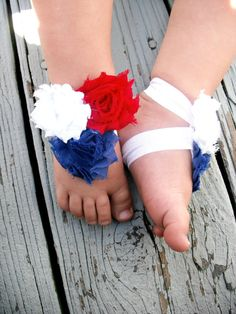 RED WHITE and BLUE Baby Barefoot Sandals  by TheBloomingLilac2013, $6.00