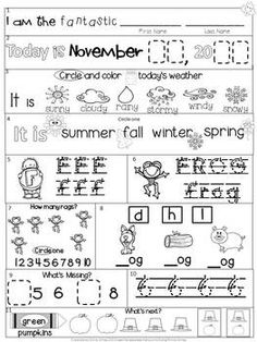 math worksheet : free kindergarten morning work for literacy  math skills  : Kindergarten Morning Worksheets