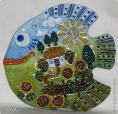 Картина панно рисунок Лепка Роспись Две рыбки Тесто соленое фото 1