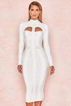 f8cbcd6a27 White Hollow Out Long Sleeve Bandage Dress