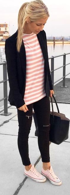 #spring #outfits woman in black blazer; pink and white striped shirt; black capri pants; and pink low-top sneakers holding bag. Pic by @sinihfashion