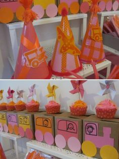 pink and orange party | ... orange and pink icing between layers. I used pink foam board for the