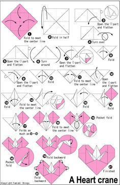 orgami heart crafts | Origami Heart Crane | Origami and Crafts