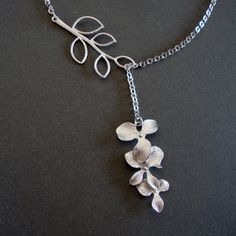 Orchid and Branch Necklace  Orchid Jewelry Bridal Lariat by 4ever4, $24.00
