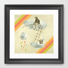 The fisherman who was cleaning the sky from the clouds Framed Art Print by AmDuf - $36.00
