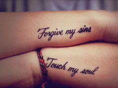 simple words tattoos on forearm | 35 Inspirational Script Tattoos - SloDive
