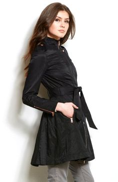 Great shape, can be worn with pants, skirt or dress.  Armani Exchange Womens Flared Nylon Trench