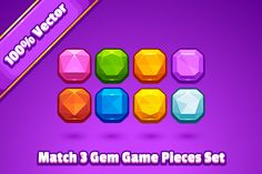 Match 3 Gem Game Pieces by Vectricity Designs on @creativemarket